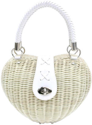 "Annie Diamantidis Annie Handbags ""Thetis"" straw heart beach tote"