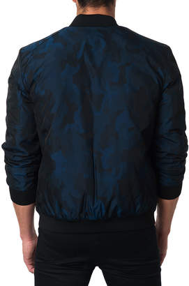 Jared Lang Semi-Fitted New York 1C Camo Bomber Jacket, Blue