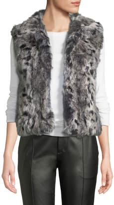 Adrienne Landau Animal-Printed Rabbit Fur Vest