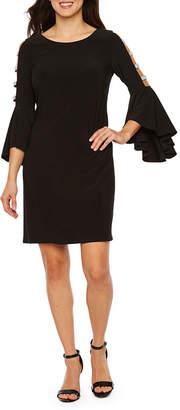 MSK 3/4 Bell Sleeve Embellished Shift Dress