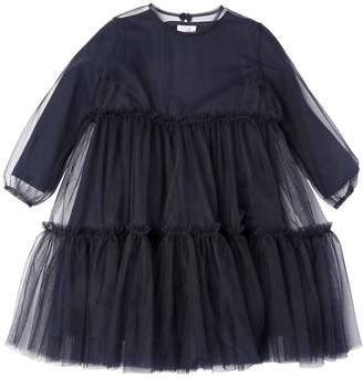 Il Gufo Stretch Tulle & Cotton Sweatshirt Dress