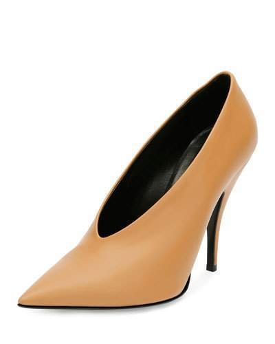 Stella McCartney High-Vamp Pointed-Toe Pump, Tan