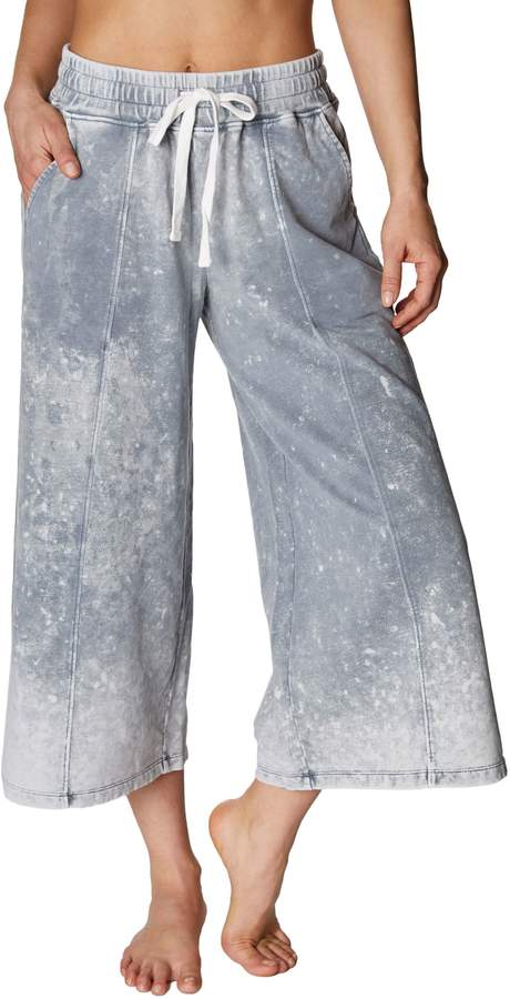 Betsey Johnson BLEACH WASH FLARED CROP SWEATPANT