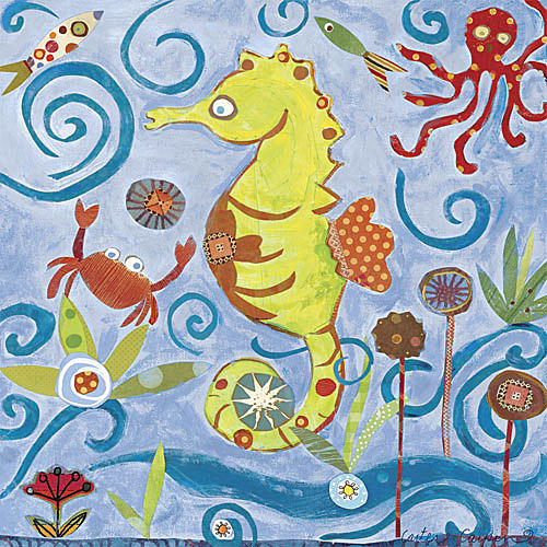Lime Seahorse Canvas Reproduction