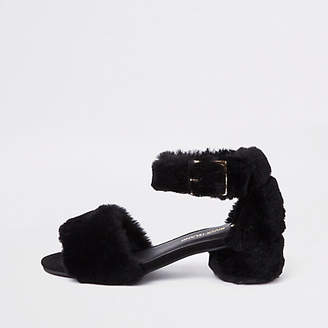 River Island Girls black faux fur trim block heel sandals