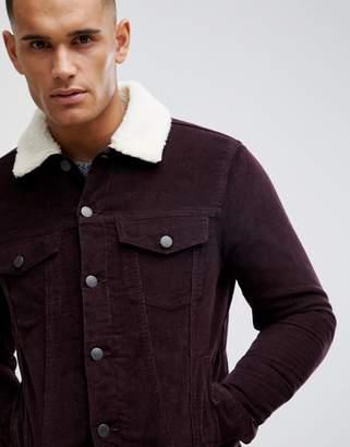 New Look corduroy jacket with fleece lining in burgundy