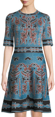M Missoni 1/2-Sleeve Shimmered Intarsia Fit & Flare Dress