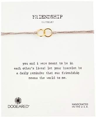 Dogeared Friendship Sterling Silver Double Link Silk Adjustable Closure Bracelet