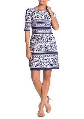 Eliza J Floral Jersey Knit Shift Dress