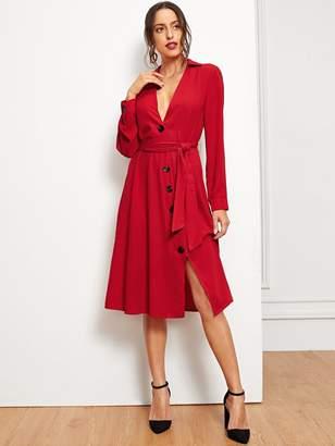 Shein Button Through Tie Waist Slit Shirt Dress