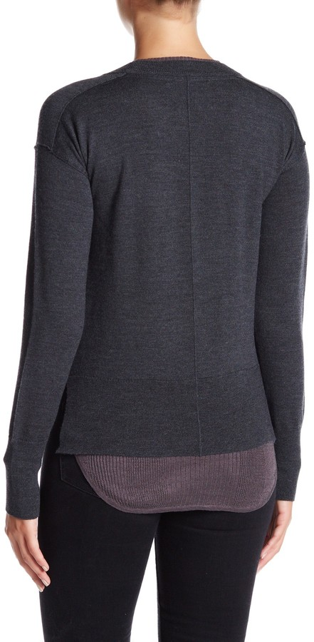 Brochu Walker Wool-Linen Blend Francine Layered Crew Sweater 3