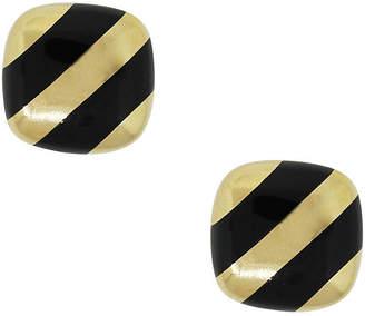 One Kings Lane Vintage Gold & Black Enamel Cufflinks