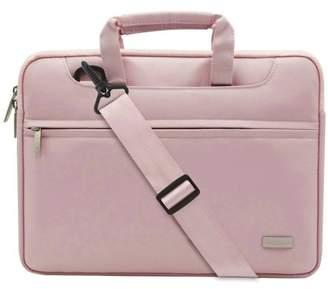 Mosiso Polyester Laptop Shoulder Bag Briefcase Sleeve Case Cover Handbag for 13-13.3 Inch MacBook Notebook with Back Belt for Trolly Case,Pink