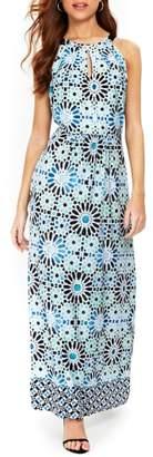 Wallis Turquoise Tile Halter Top Maxi Dress