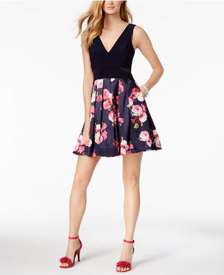 Xscape Evenings Solid & Floral-Print Fit & Flare Dress