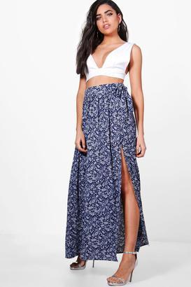 boohoo India Woven Paisley Print Wrap Maxi Skirt $40 thestylecure.com