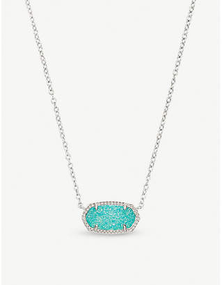 Kendra Scott Elisa rhodium-plated and teal drusy pendant necklace