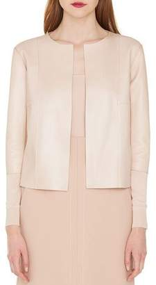 Akris Open-Front Napa Leather Short Jacket with Knit Combo