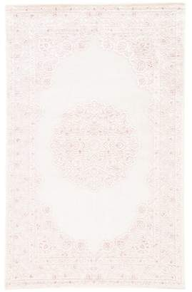 Bungalow Rose Fontanne Machine-Woven Chenille Ivory/Baby Pink Area Rug Rug