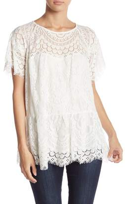 Johnny Was Lace Short Sleeve Top
