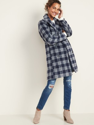 Old Navy Soft-Brushed Plaid Long-Line Peacoat for Women
