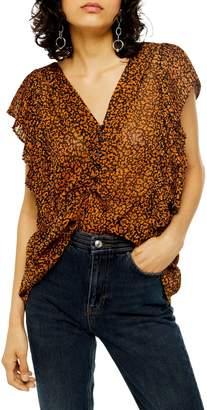 Topshop Cheetah-Print Ruffle Plisse Top