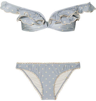 Zimmermann Helm Off-the-shoulder Polka-dot Bikini - Sky blue