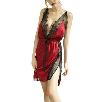c82bc05901 Letdown Sexy Lingerie Letdown Women Sexy Lingerie Soft Satin Deep V Lace  Sleepwear Nightwear Nightdress Sleepwear