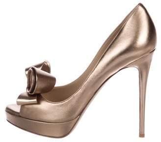 Valentino Metallic Bow Couture Pumps