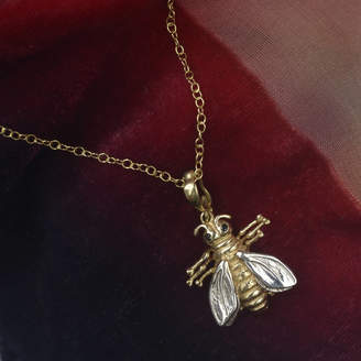 Simon Kemp Jewellers Bee Necklace In Solid Gold With Black Diamonds