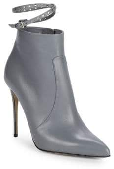 Valentino Grommet Leather Stiletto Booties