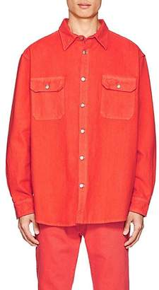 424 Men's Denim Oversized Work Shirt - Orange