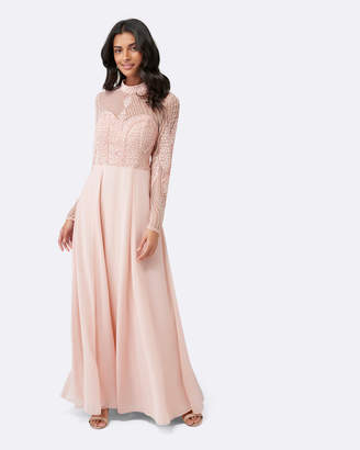 Forever New Violet Beaded Long Sleeve Maxi Dress