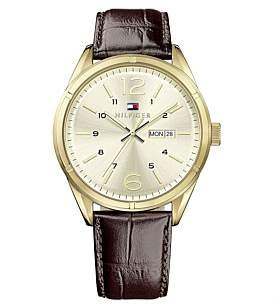 Tommy Hilfiger Rnd Gold Case 3 Hand With Day And Date Brn Leather Strap