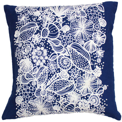 Buy Blue Shell-Embroidered Pillow!