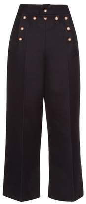 Marc Jacobs - Embellished Wool And Silk Blend Sailor Trousers - Womens - Navy