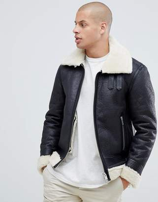 Replay shearling pu biker jacket in black