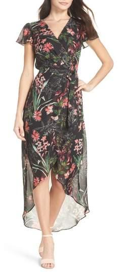 Chiffon Faux Wrap Dress