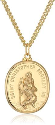 Men's 14k Gold Filled Rectangular Saint Christopher Medal with Gold Plated Stainless Steel Chain Pendant Necklace