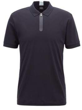 BOSS Hugo Slim-fit polo shirt in cotton zippered neck S Open Blue
