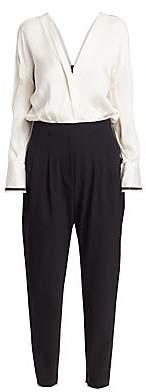 Brunello Cucinelli Women's Monili-Trimmed Silk Blouson Jumpsuit