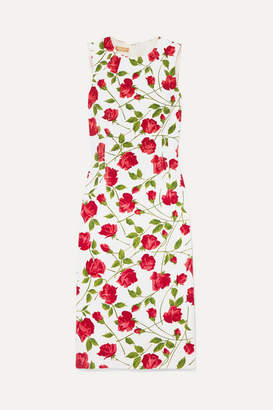 Michael Kors Floral-print Stretch-cady Dress - Red