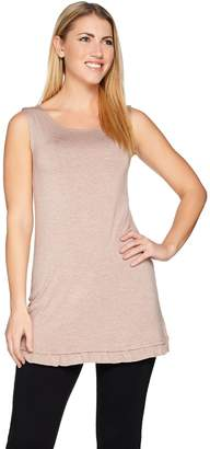Logo By Lori Goldstein LOGO Layers by Lori Goldstein Heather Knit Tank with Ruffle Trim