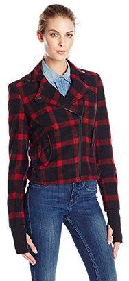 Eleven Paris Women's Wool Plaid Motorcycle Jacket $224 thestylecure.com