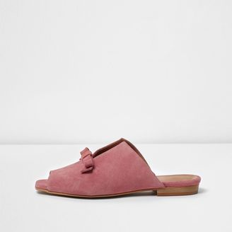 River Island Womens Pink suede bow mules