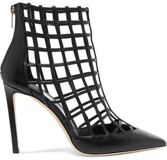 Jimmy Choo Sheldon 100 Cutout Leather Ankle Boots - Black