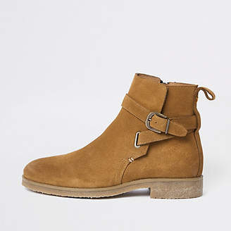 River Island Tan suede buckle strap chelsea boots