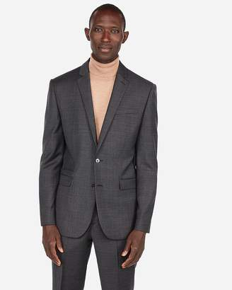 Express Slim Plaid Windowpane Wool-Blend Stretch Suit Jacket
