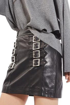 TOPSHOP Buckle Detail Leather Miniskirt $180 thestylecure.com