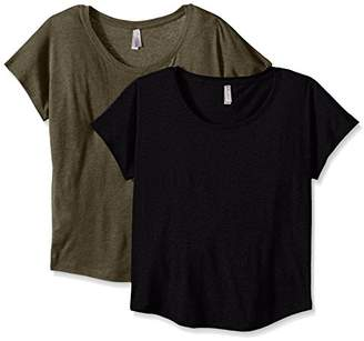 Clementine Apparel Women's 2 Pack Short Sleeve T Shirts Tag Free Scoop Neck Triblend Stretch Undershirt Tees (6760)